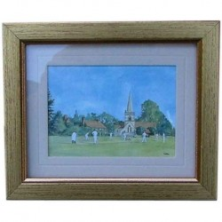 Miniature Village Cricket Print