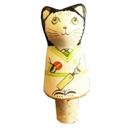 Cricketer Cat Wine Stopper